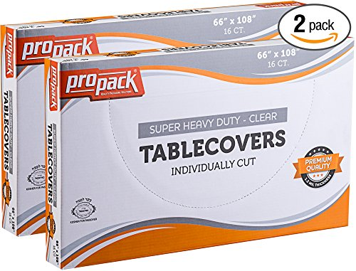 Propack Disposable Heavy Weight Clear Plastic Tablecovers Individually Cut SIZE: 66'' x 108'' 16 Precut Tablecloth In A Box Pack of 2 (32 tablecloth total) - 108' Tablecloth