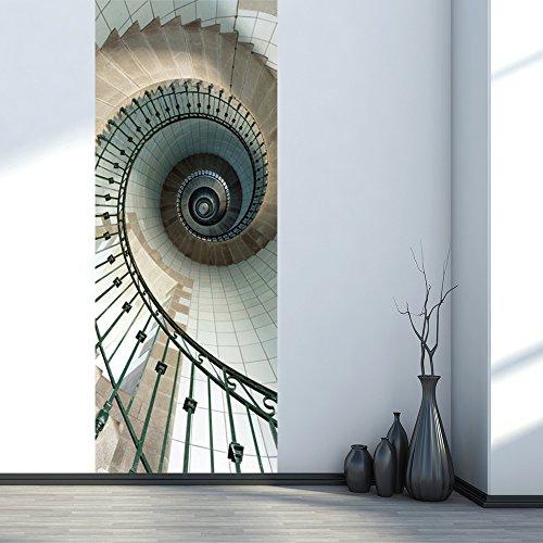 Kezhy 77200Cm Creative Spiral Staircase Door Stickers Diy Mural Bedroom Vinyl Door Stickers Poster Home Decor
