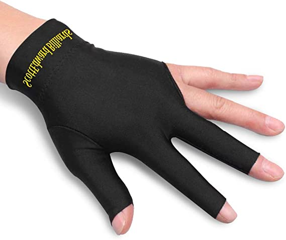 SCSpecial Billiard Glove with Pad for Left Bridge Hand 1 Piece 3 Fingers Elastic Lycra Stretchable Pool Cue Snooker Glove