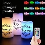 "Eldnacele Color Changing Flickering Flameless Candles Multi Color White Wax with Remote Timer - Live, Love, Laugh Decal Romantic Candles(3"" x 4"" 5"" 6"")"