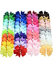 40 Pcs 3inch Boutique Grosgrain Ribbon Baby Girls Hair Bows with Clips for Teens Toddlers (40Colors/40Pcs)