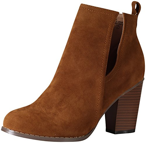 Chase & Chloe Women's Willy-3 Cutout Side Sueded Bootie (9 B(M) US, Tan)