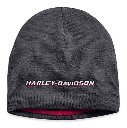 Harley-Davidson Men's Embroidered Fleece Lined Knit Beanie Hat, BLK 97810-19VM - Embroidered Lined Beanie