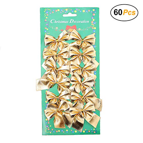 Christmas Trees Bows - Christmas Bows Festival Bowknot Christmas Tree Decorations, Pack of 60 (Gold)