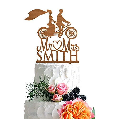 P Lab Retro Bicycle Bride Veil Wedding Wedding Cake Topper Rustic Wood Decoration Keepsake Engagement Favors for Special Event Cherry Wood ()