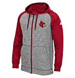 NCAA Louisville Cardinals Men's Primary Logo Embroidered Climawarm Team Issue Full Zip Hood, Grey Heathered, Small