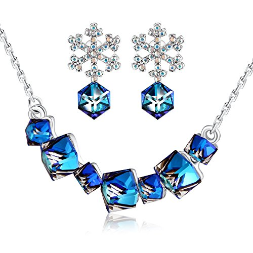 Swarovski Snowflake Pin - PLATO H Change Color Neaklace Earring Set Smiling Pedant Necklace & Snowflake Earrings Jewelry Set Women Fashion Romantic Gift for Her