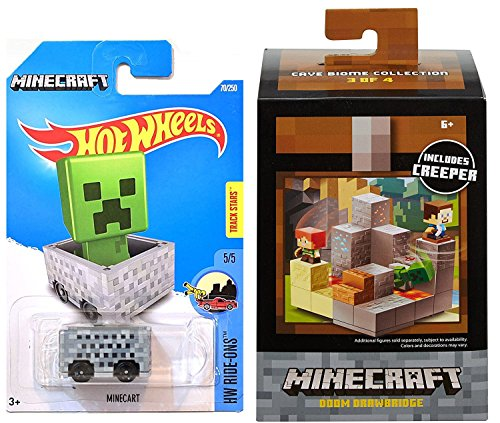 Minecraft Hot Wheels Minecart HW Screen Time #24 & Mini Creeper Figure Doom Drawbridge Environment Set Cave Biome Collection #3
