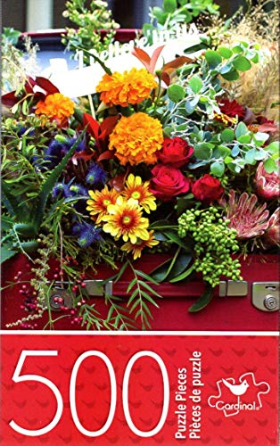500 Cardinals Piece Puzzle - Cardinal Industries Flowers in Suitcase - 500 Piece Jigsaw Puzzle - p007
