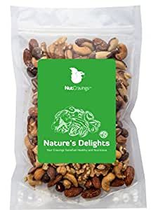 Nut Cravings Mixed Nuts – 100% Natural Raw Walnuts With Roasted & Salted Almonds, Cashews, Brazil Nuts & Hazelnuts – 2LB