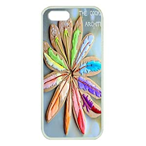 Case For Sam Sung Galaxy S5 Cover ,fashion durable White side design phone case, Hard shellmaterial phone cover ,with Rainbow Wishes feather art.
