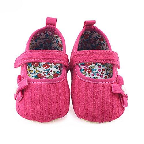 Hunpta Neugeborene Säuglings Baby Mädchen Bogen Blumenkrippe Schuh weiche alleinige Anti Rutsch Turnschuhe Hot pink,