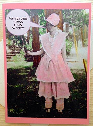 Halloween Card - Vintage Halloween Card - Bo-Peep Halloween Costume - Vintage Costume Card - Funny Halloween Card