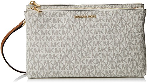 - Michael Kors Adele Signature Double Gusset Crossbody, White