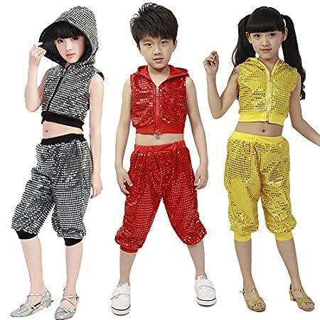 Moyuqi Paillettes Stage Jazz Hip Hop Dance Vêtements Costume Ensembles  Trackusit Convient pour garçons filles 023ab862ed4