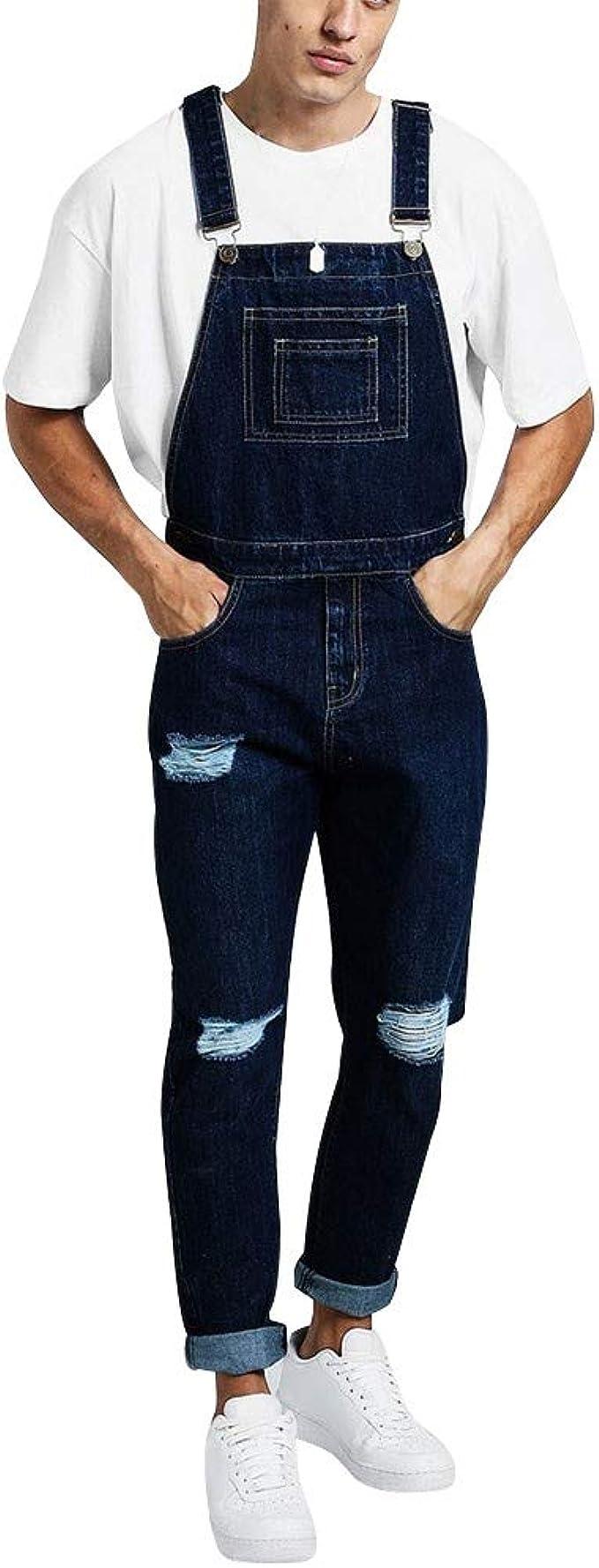 Pantalón Chandal Hombre Mono Vaquero Mezclilla Jumpsuit Tefamore ...