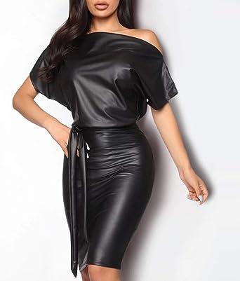 Routinfly damska sukienka z krÓtkim rękawem, jednokolorowy nadruk, długa sukienka z dzianiny, seksowna sukienka skÓrzana, dopasowany krÓj: Odzież