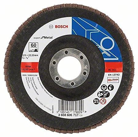 Bosch 2608606716 Flap Discs 125x22 G40, Black/Brown