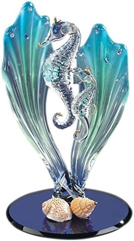Under The Sea Seahorse Figurine Flower Sea horse Gothic Pink And Lilac Seahorse Sculpture
