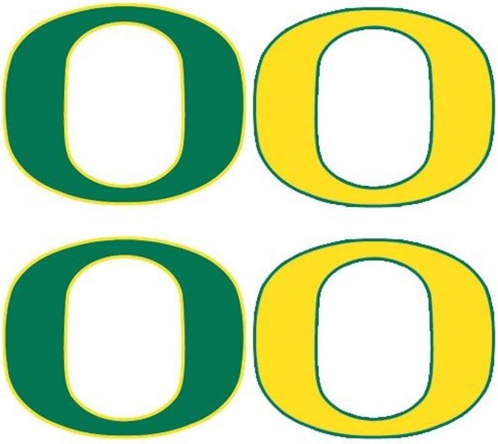 University of Oregon (UO) Ducks – Waterless Peel & Stick Temporary Tattoos – 8-Piece Combo – 4 Green O Logo & 4 Yellow O Logo Spirit Tattoos