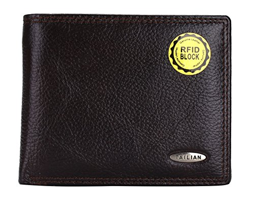 TAILIAN Fashion Men's Royal Genuine Leather RFID Blocking Secure Wallet Pockets (brown long)