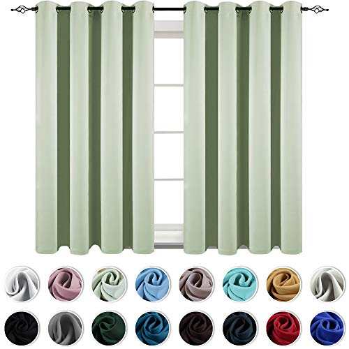 Green Window Curtain - KEQIAOSUOCAI Light Green Curtains Window Drapes Room Darkening Thermal Insulated Blackout Curtain Grommet Panels for Bedroom/Living Room, Mint Green 2 Panels, 52 inches Wide by 63 inches Long