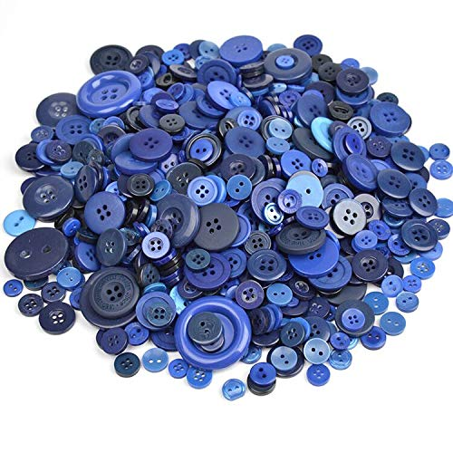 Esoca 650Pcs Navy Blue Buttons for Crafts Royal Blue Craft Button Assortment Blue Colored Buttons for Arts, DIY Crafts, Decoration, Sewing