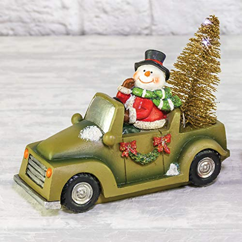 Lighted Santa or Snowman Vintage Car with Christmas Tree - Tabletop Holiday Decoration (Snowman)