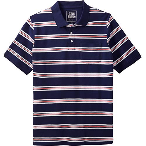 Liberty Blues Men's Big & Tall Pocket Pique Polo Shirt, Brick Red Stripe Big-4XL