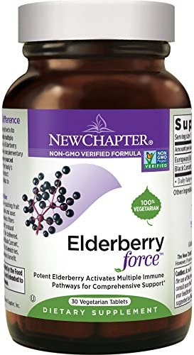 New Chapter Elderberry Capsules, Elderberry Force, with 64x Concentrated Black Elderberry Black Currant for Immune Support, No Added Sugar, Gluten Free, Vegan – 30 Count