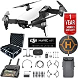 DJI Mavic Air Drone Combo 4K Wi-Fi Quadcopter with Remote Controller Deluxe Bundle with Hard Case , Dual Battery , Landing Pad and 1 Year Warranty Extension (Arctic White)