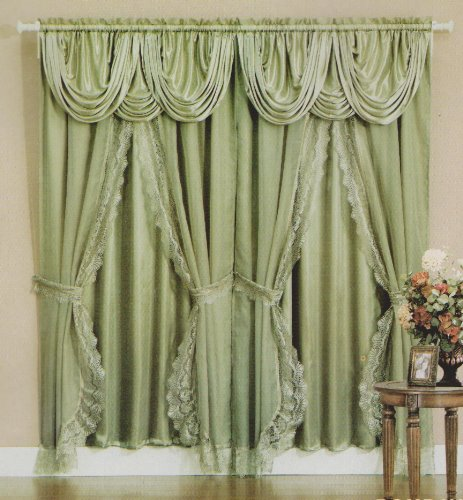 - Sheer & Lace Victorian Window Curtain Set with Satin Valance & Backing Panel - Sage Green color
