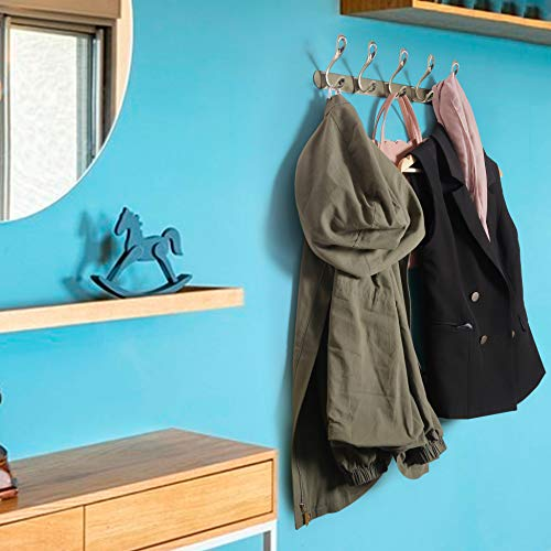 WEBI Coat Rack Wall Mounted,5 Hooks for Hanging,Coat Hook,Hook Rack,Hook Rail,Coat Hanger Wall Mount for Hats,Jacket,Backpack,Bronze,2 Packs