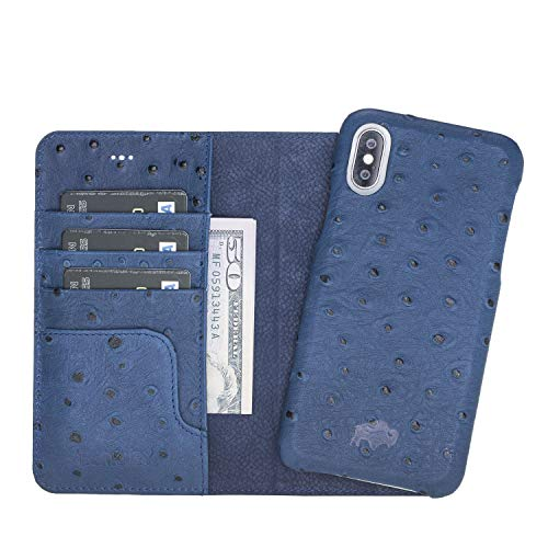 Pieno Full Leather Covered 2 in 1 Detachable Leather Wallet Case with Flap Closure & Premium Snap-on Case, Book Style Cover Compatible Apple iPhone X/XS (Ostrich Blue)