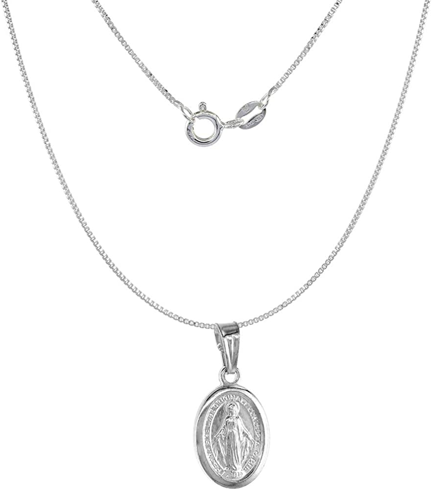 Very Tiny Sterling Silver Miraculous Medal Necklace Oval Virgin Mary Italy 1/2 inch, 0.8mm Chain