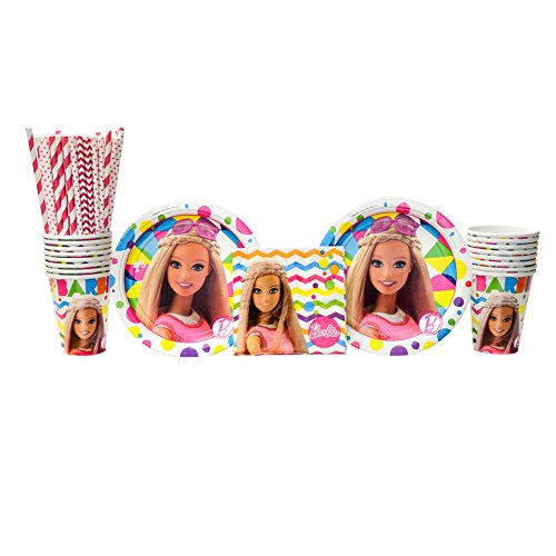 (Amscan Barbie Sparkle Party Supplies Pack for 16 Guests: Straws, Dessert Plates, Beverage Napkins, and)