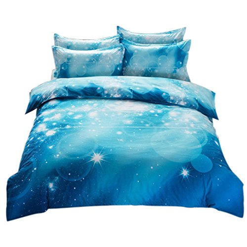 Bubble Cotton Bed (uxcell Galaxy Sky Cosmos Night Pattern Single Size 2pcs Bedding Quilt Duvet Set Blue)