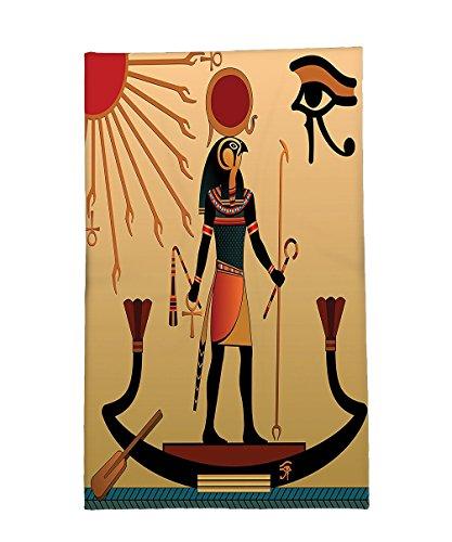 Interestlee Fleece Throw Blanket Egyptian Decor Illustration of Ancient God Sun Ra Old Egyptian Faith Grace Icons Traditional Pagan Print Multi
