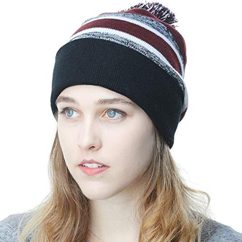 THE HAT DEPOT Winter Soft Unisex Pom Pom Stripe Knit Beanie Skull Slouch Hat (Black-Burgundy)