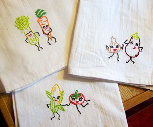 Kitchen Dish Towel Hand Embroidered with Dancing Vegetables, Vintage Look, Great Housewarming Gift ()