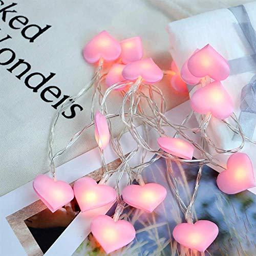 Ruili Inc 20 Led Love Heart String Lights Battery Operated Artistic Decor with Flashing/Always On Modes for Wedding Fairy Gift 118 Inches Pink