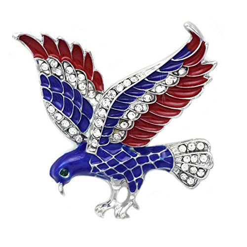 - cocojewelry 4th of July American Flag Design Eagle Pin Brooch Independence Day Gift (Silver-tone)