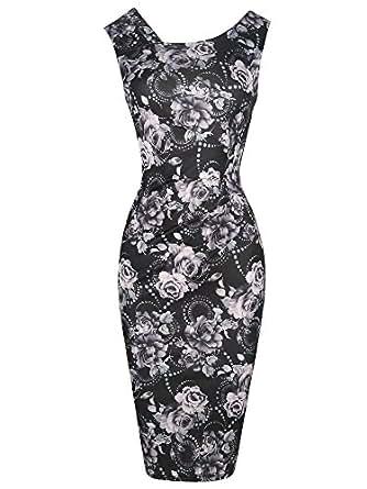 oxiuly Women's Black Print Floral Retro 1950s Style Sleeveless Slim Business Pencil Bodycon Dress OX269 (S, Black)