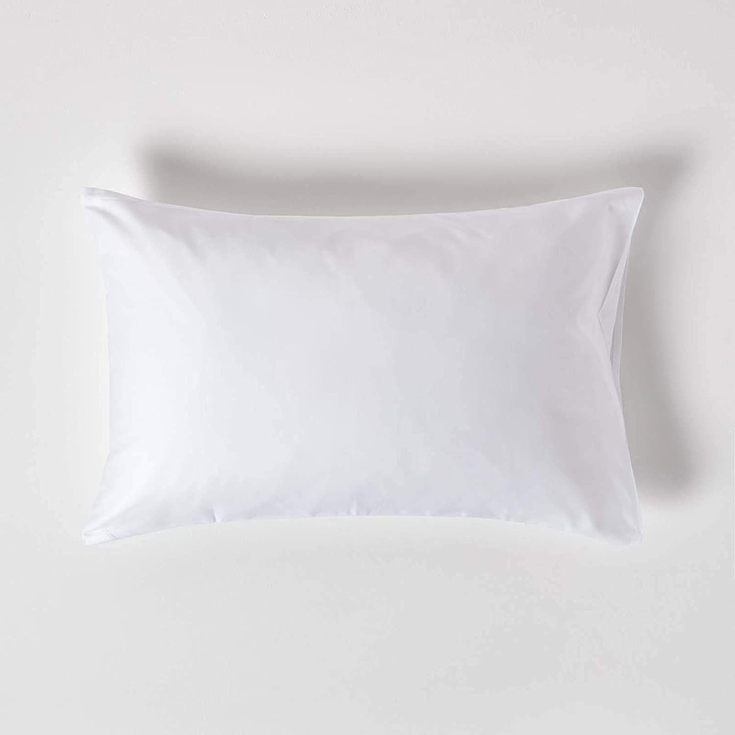 HOMESCAPES White Organic Cotton Pillowcase Standard Size 600 Thread Count Percale Equiv Housewife Pillow Case