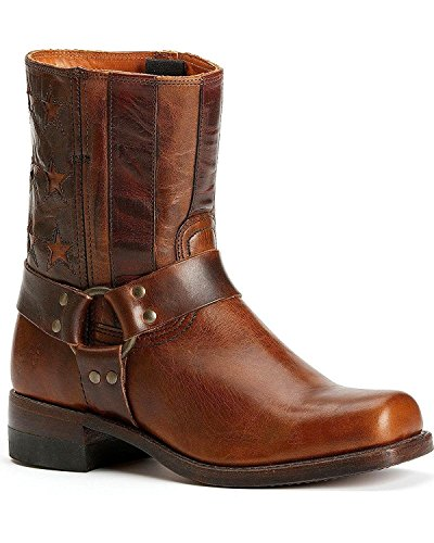 Frye Womens Harness Americana Short Boot Scuro Brn