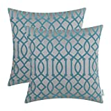 CaliTime Pack of 2 Throw Pillow Covers Cases for Couch Sofa Home Decoration 18 X 18 Inches Flocking Modern Geometric Trellis Chain Grey Teal