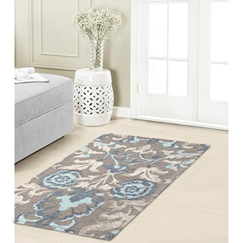 Laura Ashley Penelope 5 x 8 Jacquard Chenille Textured Area Rug, Duck Egg Blue