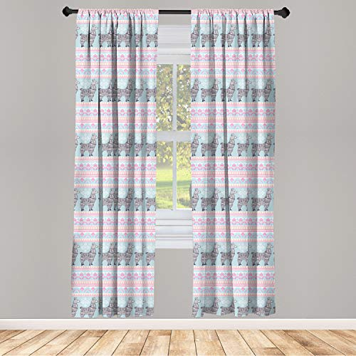 "Ambesonne Llama 2 Panel Curtain Set, Horizontal Borders with Patterned Alpaca Animal and Folkloric Ornaments, Lightweight Window Treatment Living Room Bedroom Decor, 56"" x 95"", Seafoam Pink"