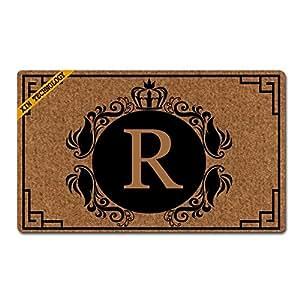 Penny McCarthy - Felpudo personalizable, diseño de letra R con monograma, antideslizante, no tejido, alfombrilla de suelo para interior y entrada