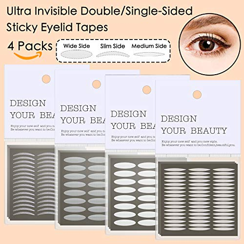 4 Pack/960Pcs Natural Invisible Single/Double Side Eyelid Tapes Stickers, Medical-use Fiber Eyelid Strips, Instant lift Eye Lid Without Surgery, Perfect for Hooded, Droopy, Uneven, Mono-eyelids (Eyelid Lift Surgery)